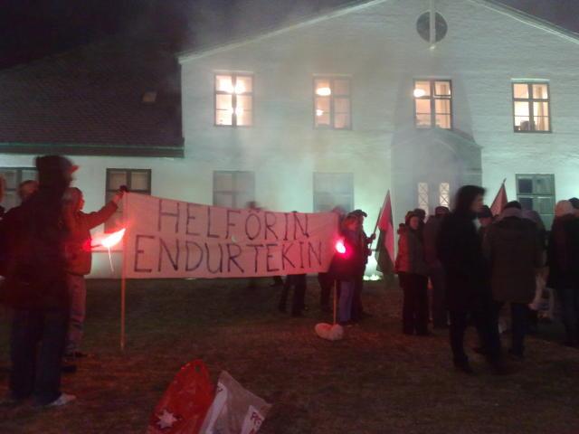 Mótmælt við stjórnarráðið