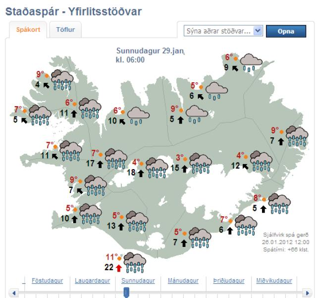 Iceland weather map