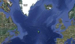 MSC Flaminia var statt þar sem græna örin er þegar neyðarkallið barst.